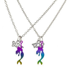 Lux Accessories Silver Tone Rainbow Mermaid BFF Best Buds Necklace Set (2PCS)