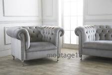 Burley Button Back Chesterfield Grey Velvet Fabric Armchair