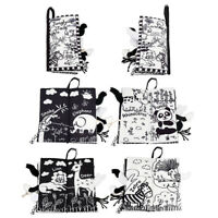 KQ_ KM_ Black White Cartoon Animal Baby Cloth Book Early Education Toy Eager
