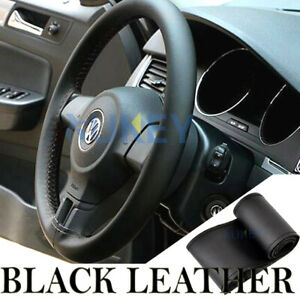 Black DIY Genuine Leather Car Steering Wheel Glove Cover Wrap W/ Needles Thread