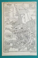 "1887 MAP BAEDEKER - Czech Republic Brno Brunn Town Plan 4 x 6"" (10 x 15,5 cm)"