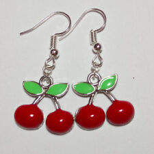 Cherry earrings fruit rockabilly kitsch dangle drop