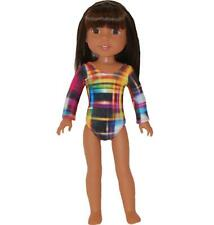"""Gymnastics Leotard for 14"""" Wellie Wishers Doll Clothes by TKCT colorful lines"""
