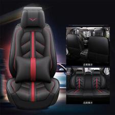 Full Set 5-seats Car Sedan Seat Cover Pillow Black + Red Pu Leather Pad Us Stock