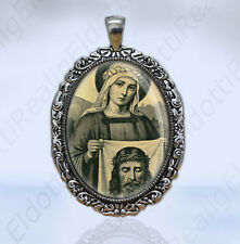 St Veronica and The Holy Face Jesus Christian Catholic Medal Sepia Color Pendant