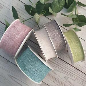 30, 50mm Fine Burlap Hessian Ribbon, Rustic natural, Open Weave, Linen, Neutral