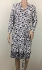 Bass Women's L Wrap Dress Giraffe Print White Blue Midi Long Sleeves