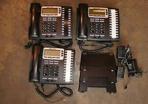 Lot 3x Allworx 9224 Black LCD Display Office IP Phone w/ Handset, Stand & AC