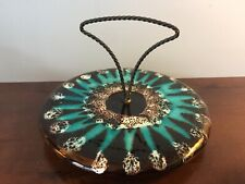 PRELOVED VINTAGEART POTTERY HIGHLY GLAZED BROWN/ TURQUOISE CAKE STAND