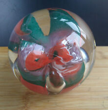 ART GLASS Studio Green Orange Paperweight Teardrop Unsigned