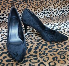 "NEW LOOK CRUSHED VELVET SOFT-POINTED TOES SLIM HEEL COURT SHOES 3.5"" Size 8 / 41"