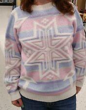Vtg 80s Fashion Pastel Sweater Fairy Kai Kawaii GLITTER Snowflake & Stripes Goth