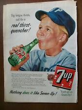 1956 VTG Orig Magazine Ad 7 Up Soda Big-League Thirsts Call For Thirst Quencher