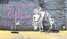 not a banksy  life is good  canvas street art print urban graffiti painting