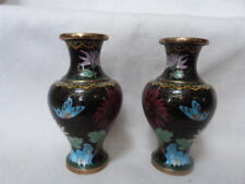 "2 Gorgeous Vintage Chinese Cloisonne vases Black Background Vibrant Flowers 6"""