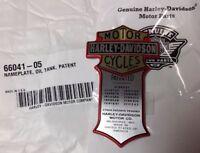 Harley-Davidson Nameplate,Oil Tank,Patent,Emblem,Panhead,Softail,Shovel NOS