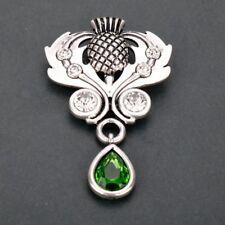 Scottish Thistle Outlander Brooch Pin Celtic Scotland Crystal Silver Gift UK