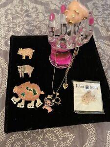 Betsey Johnson Necklace & pendant- PIG-pins 4 , Ring Sz 7