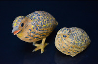 Japanese Vintage Ueno Gyokusui Wood Carving Quail Pair Sculpture