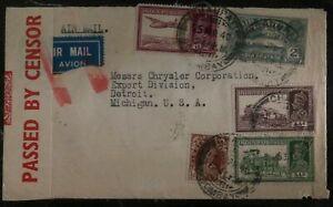 1940 Bombay India Motor Car Agency Airmail Censored Cover To Detroit MI USA