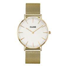 Runde Armbanduhren aus Messing mit Gelbgold