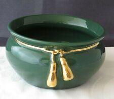 Grüner Blumentopf aus Keramik 16,5 cm Durchmesser mit Vergoldung