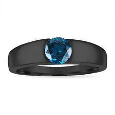 Enhanced Blue Diamond Mens Wedding Ring, 0.75 Carat 14K Black Gold Handmade