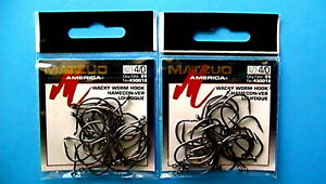 2 PACKS - MATZUO WACKY WORM SIZE 4/0 BLACK CHROME HOOK 25-COUNT PACKAGE #430012
