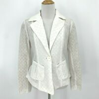 Kut from The Kloth Blazer K12554 Women's Size XS White Eyelet One Button Jacket