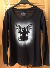 Goth, Rock, Cattula Painted Long Sleeve Slouchy Top. Size 12/14