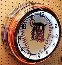 "18"" DETROIT Tigers Sign Double Neon Clock"