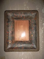 Cadre photo cuir ancien décor japonisant Photo frame leather former(old) japan