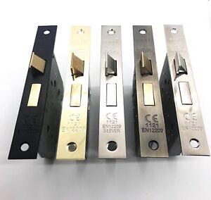 """Bathroom Mortice Door Lock in Brass, Chrome, Matt Black Antique Brass 2 1/2"""" 3"""""""