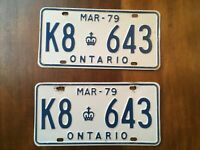 ONTARIO LICENSE PLATE 1979 K8 643 SET PAIR VINTAGE CANADA CAR SIGN