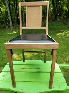 Vintage Leg O Matic Folding Chair RV Airstream,cane Back