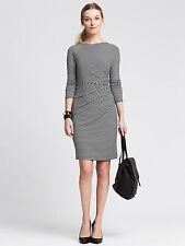 Brand New Banana Republic Striped Jersey Zip Dress Color Black/White Size XL