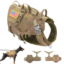 Military Tactical Dog Hunting Training K9 Molle Nylon Service Vest Harness w/Bag