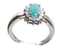 1.14ct ct anello di smeraldo e Diamanti in 14k oro bianco