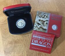2012 $1 YEAR OF THE DRAGON Silver Proof High Relief AUSTRALIA LUNAR SERIES II
