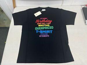Vetements - Birthday Slogan Jersey T-Shirt in Black - Size S