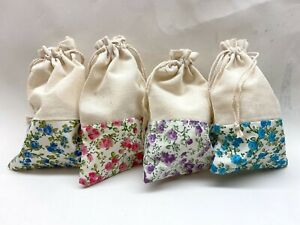"Cotton Drawstring Bags Flower Print Gift Bag Candy Wedding Favor 5.5x3.5"" 24 pcs"