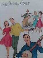 1960s Vtg TEENS Play Music DANCE Norcross Happy BIRTHDAY Cousin GREETING CARD