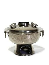 Chinese Engraved Silver Hot Pot with Bat Handles & Yin Yang Design Early 20th C