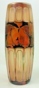 Antique Bohemian RAINBOW Cut to Opalescent Hand Painted Art Glass Vase ~ Loetz