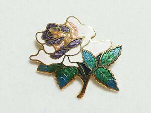 VINTAGE Pretty Goldtone Pink/White, Green, Purple Cloisonne Enamel Floral BROOCH