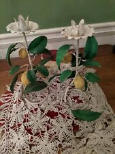 Vintage Italian Toleware Metal Candle Holders with Lemons