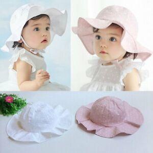 Baby Girls Hats Wide Brim Bucket Cap Beach Summer Sun Hat Toddler Kids 0-4Y