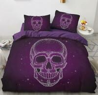 3D Purple Skull ZHUA1457 Bed Pillowcases Quilt Duvet Cover Set Queen King Zoe
