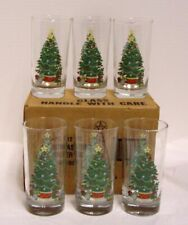 Christmas Tree Drinking Glasses Tumblers Set of 6 In Box Home Interiors Vintage