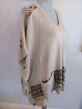 NWT rxb Medium Tan Combo Aztec Sweater Dolman Poncho MSRP $72.00
